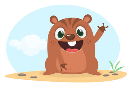 Cartoon groundhog. Happy groundhog day. Vector illustration