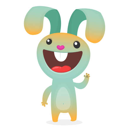 Cute cartoon rabbit. Farm animals. Vector illustration of a smiling bunny