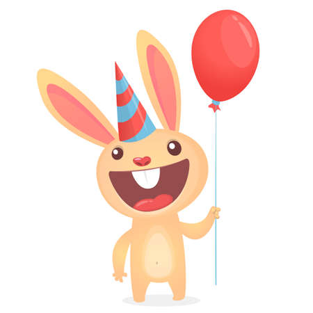 Happy cartoon bunny wearing party hat and holding air balloon. Vector illustration postcard for birthday party