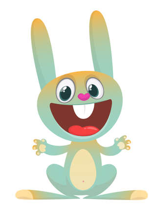 Cartoon cute rabbit with big ears. Forest animals. Vector illustration