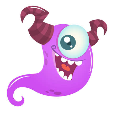 Happy cartoon monster with one eye. Vector  Halloween illustration of purple ghost Ilustração