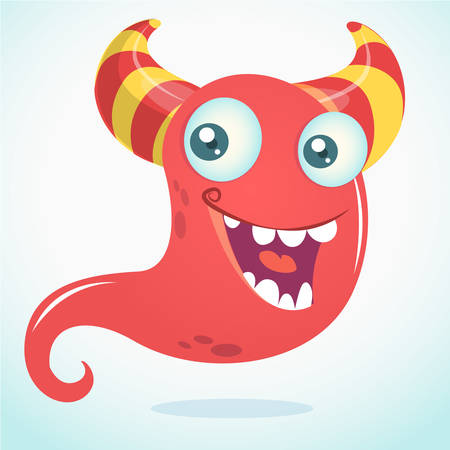 Cool cartoon monster with horns smiling. Vector  Halloween red monster illustration Illustration