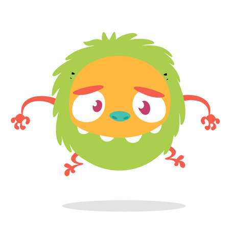 Funny cartoon of scary green monster. Vector illustration for Halloween