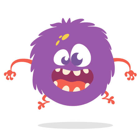 Funny cartoon monster with big mouth. Vector purple monster illustration. Halloween design