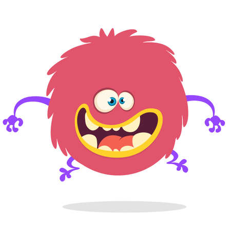 Cartoon Happy Monster With Big Mouth Laughing . Vector illustration of red monster character. Halloween design