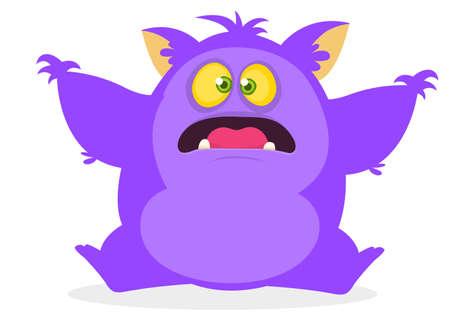Cute cartoon yeti or bigfoot waving hands. Vector illustration of purple hairy monster. Halloween design