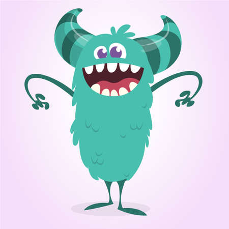Angry cartoon monster with a big smile. Vector Halloween blue monster illustration Illustration