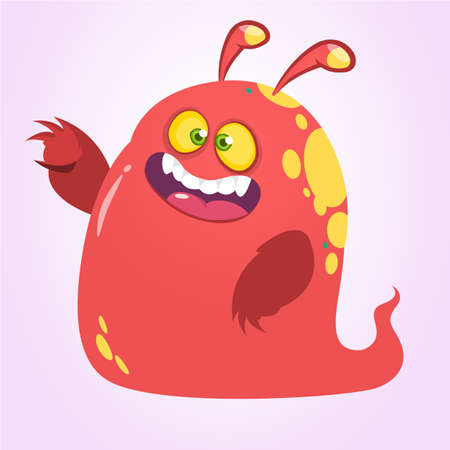 Cool cartoon red monster with horns. Vector illustration.