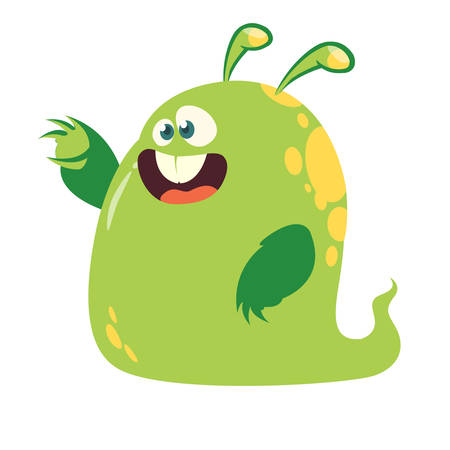 Funny and happy cartoon monster  pointing hand. Vector  Halloween illustration of green monster blob