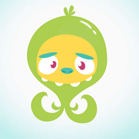 Cute cartoon monster alien or octopus. Vector illustration of green monster for Halloween 일러스트
