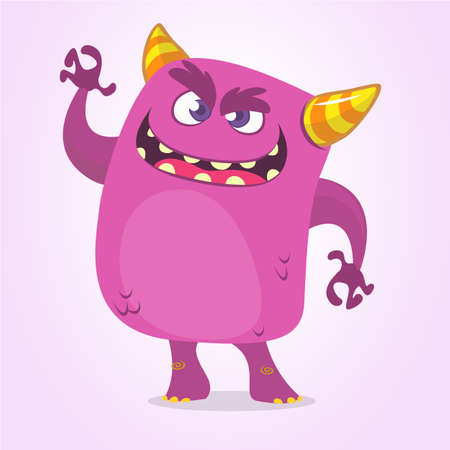 Cartoon Scary Monster With Big Mouth waving. Vector purple monster character illustration. Halloween design