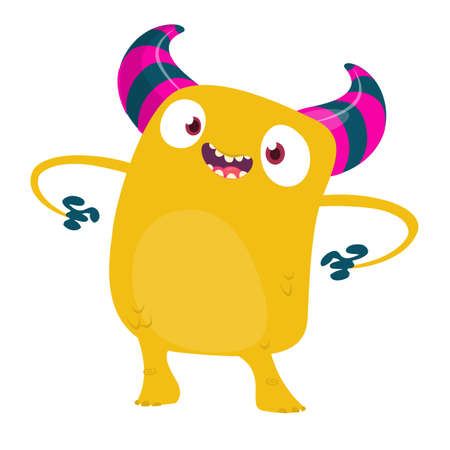 Cartoon Halloween Scary Monster. Vector yellow monster character illustration.