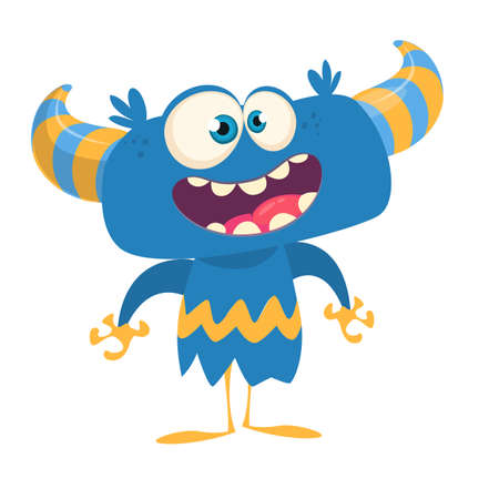 Funny cartoon monster smiling. Vector blue horned monster illustration. Yeti or bigfoot