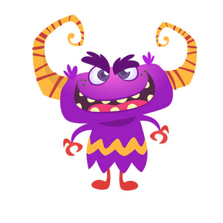 Angry cartoon monster with horns. Vector illustration Illustration