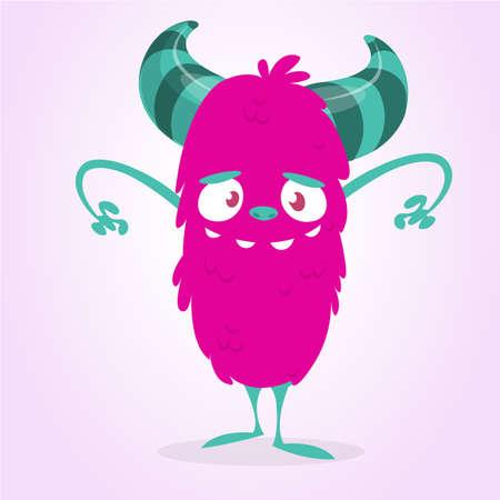 Monstre poilu de dessin animé mignon. Illustration vectorielle du personnage de monstre rose pour Halloween
