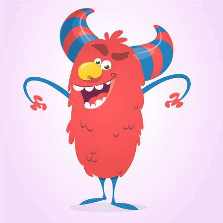 Cute cartoon devil. Vector illustration of funny red devil character for Halloween