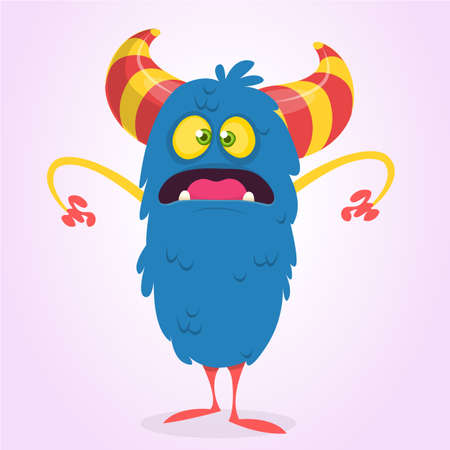 Cute scared or surprised cartoon bigfoot monster. Vector illustration of funny blue monster character for Halloween Illustration