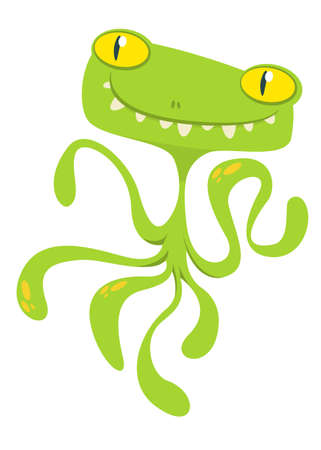 Scary cartoon monster with tentacles. Vector Halloween illustration Illustration