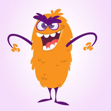 Happy cartoon monster character. Vector illustration of orange monster. Halloween design Illustration