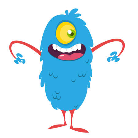 Happy cartoon one eyed monster. Vector illustration of funny monster. Halloween design