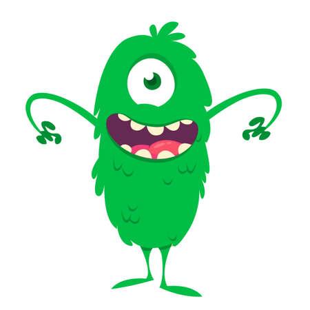 Happy cartoon one eyed green monster. Vector illustration of funny monster. Halloween design