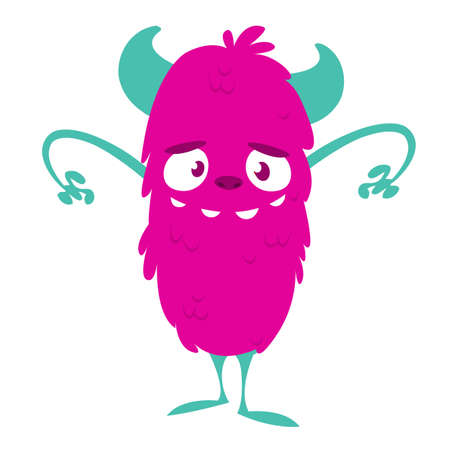 Angry cartoon monster. Vector pink monster illustration. Halloween design 向量圖像