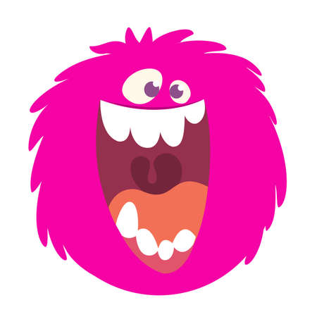 Happy cartoon pink monster head smiling with a big mouth. Vector  illustration for Halloween