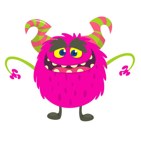Cute cartoon monster smiling. Vector illustration of pink hairy monster. Halloween design
