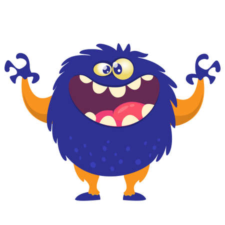 Scary cartoon monster. Vector Halloween blue monster illustration