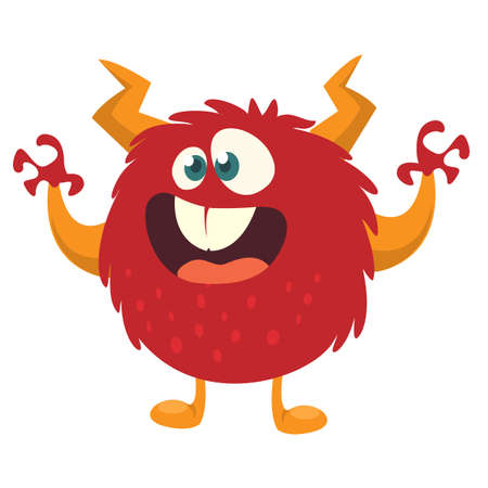 Scary cartoon monster. Vector Halloween red monster illustration Illustration