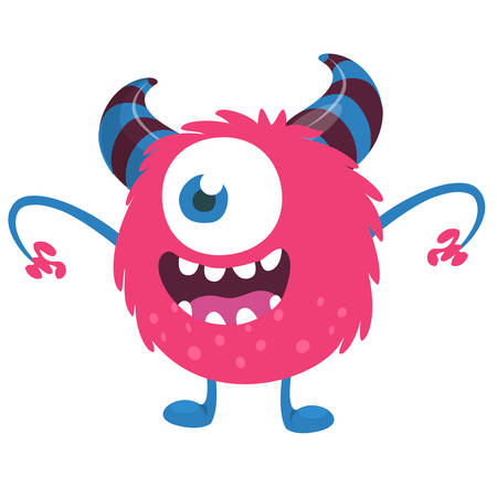 Scary cartoon one eyed monster. Vector Halloween pink monster illustration