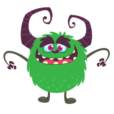 Cool cartoon monster. Vector green monster troll illustration. Halloween design. Design for decoration, print or sticker  イラスト・ベクター素材