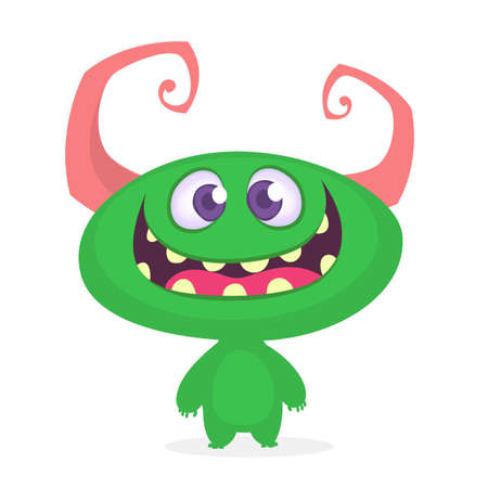 Funny cartoon monster. Vector green horned monster illustration. Halloween design