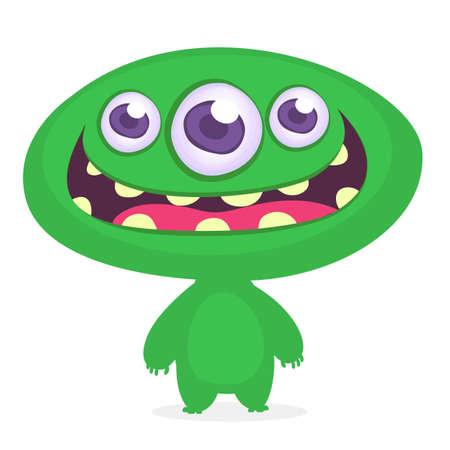 Funny cartoon monster. Vector green monster illustration. Halloween design