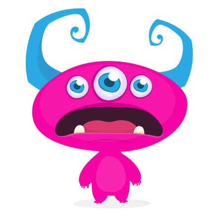 Cool cartoon alien with three eyes. Vector pink monster illustration. Halloween design