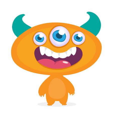Cool cartoon alien with three eyes. Vector orange monster illustration. Halloween design Stock Illustratie