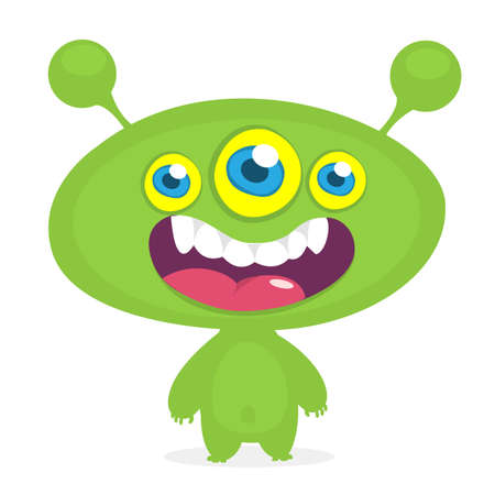 Cool cartoon alien with three eyes. Vector orange monster illustration. Halloween design Illustration