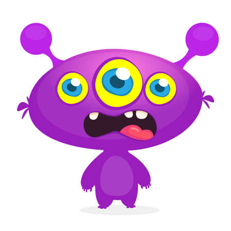 Cool cartoon monster with three eyes. Vector blue monster illustration. Halloween design Illustration