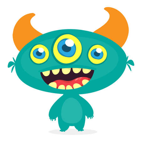 Funny cartoon three eyed alien. Vector illustration