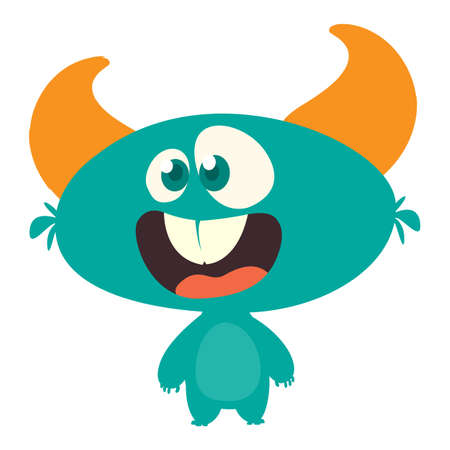 Surprised cute cartoon monster icon. Vector monster mascot. Halloween design for emblem or sticker 向量圖像