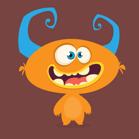 Scary cartoon alien. Vector Halloween illustrationv