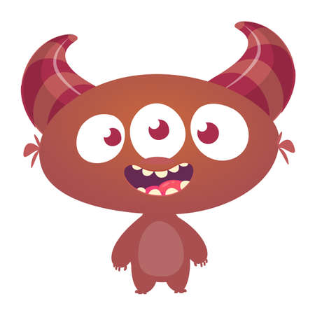 Funny cartoon three eyed alien. Vector illustration Stok Fotoğraf - 104063994
