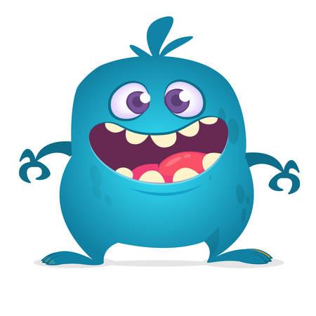 Happy cartoon monster laughing. Vector blue monster illustration. Halloween design Illustration