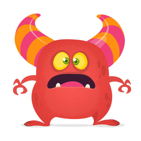 Scared cartoon monster laughing. Vector red monster illustration. Halloween design