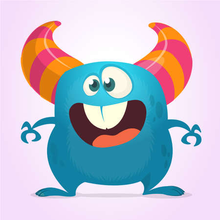 Funny cartoon monster with big mouth. Vector blue monster illustration. Halloween design Illustration