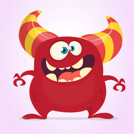 Cool cartoon monster with horns. Vector red monster illustration. Halloween design