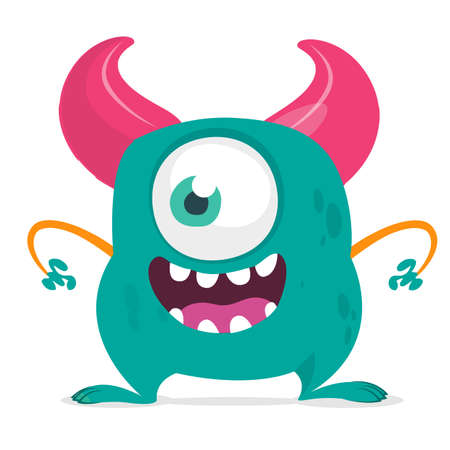 Funny cartoon monster with one eye. Vector blue monster illustration. Halloween design Ilustrace