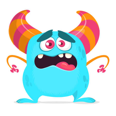 Cute furry blue monster. Vector bigfoot or troll character mascot. Design for children book, holiday decoration, stickers or print Illustration