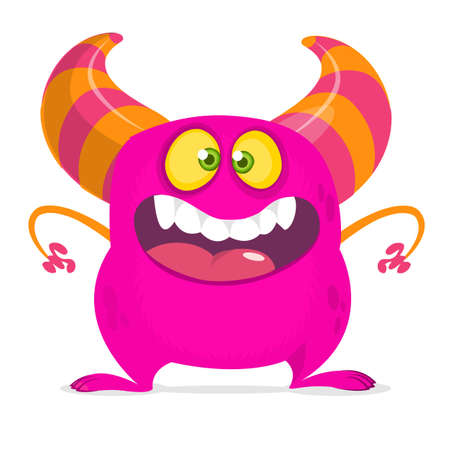 Happy cartoon monster with big mouth. Vector pink  monster illustration. Halloween design 向量圖像