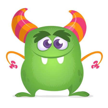 Cartoon green horned monster. Vector illustration isolated Illustration